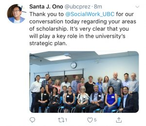 Tweet from Santa Ono about visit to the School of Social Work